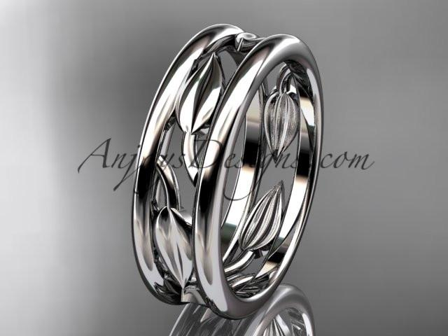 platinum leaf wedding band, engagement ring ADLR400G - AnjaysDesigns