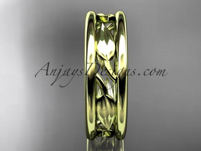 14kt yellow gold leaf wedding band, engagement ring ADLR400G - AnjaysDesigns