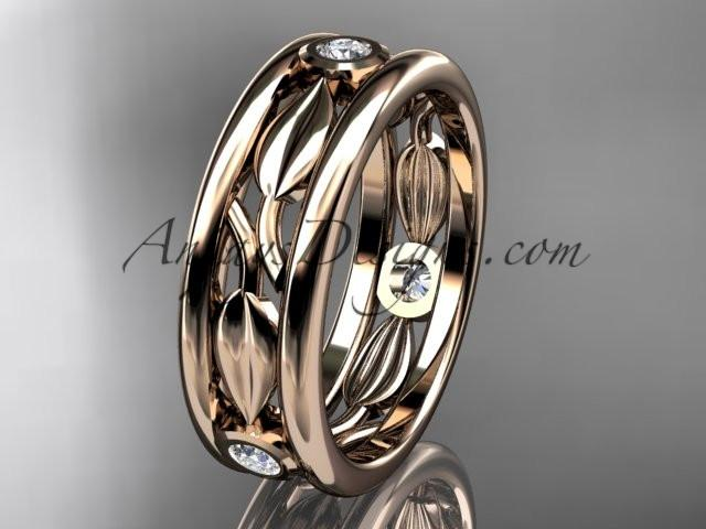 14kt rose gold diamond leaf wedding band, engagement ring ADLR401B - AnjaysDesigns