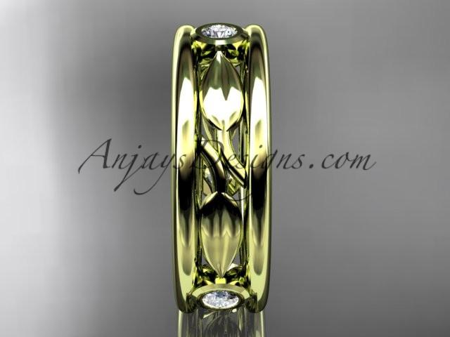 14kt yellow gold diamond leaf wedding band, engagement ring ADLR401B - AnjaysDesigns