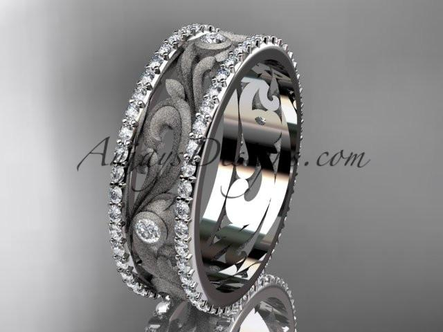 platinum diamond engagement ring, wedding band ADLR414BA - AnjaysDesigns