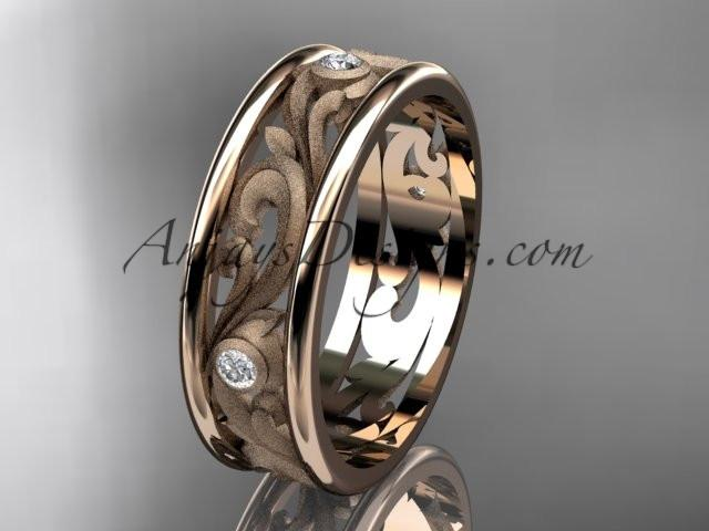 14kt rose gold diamond engagement ring, wedding band ADLR414BB - AnjaysDesigns