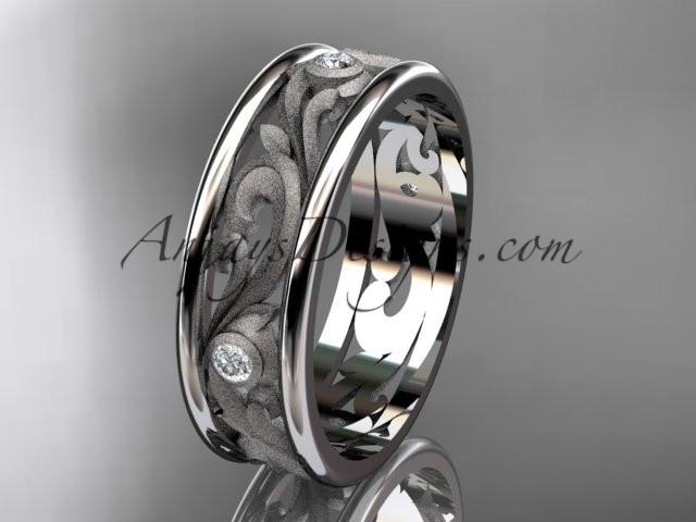 14kt white gold diamond engagement ring, wedding band ADLR414BB - AnjaysDesigns