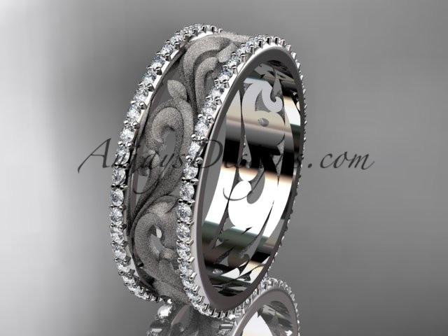 platinum diamond engagement ring, wedding band ADLR414BD - AnjaysDesigns