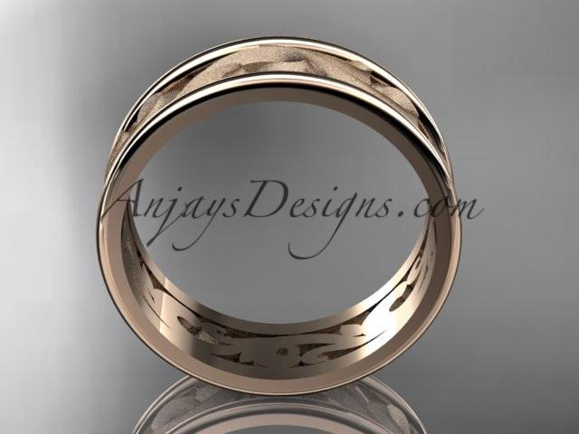 14kt rose gold leaf engagement ring, wedding band ADLR414G - AnjaysDesigns