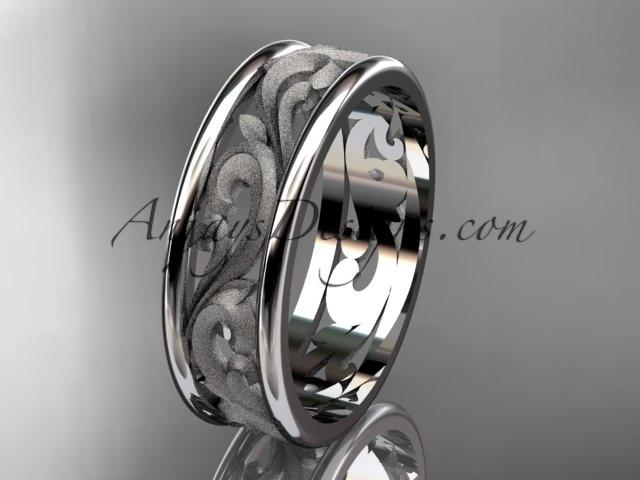 platinum leaf engagement ring, wedding band ADLR414G - AnjaysDesigns