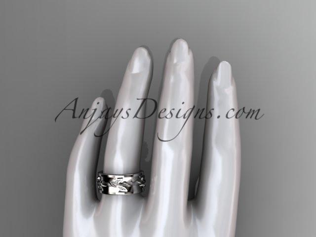 14kt white gold diamond engagement ring, wedding band ADLR417B - AnjaysDesigns