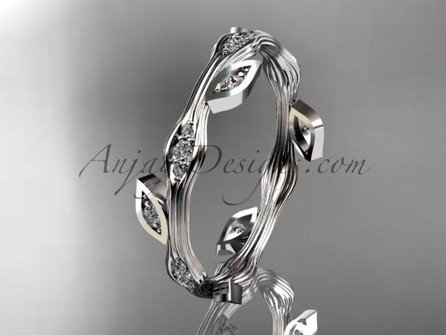 platinum diamond leaf and vine wedding ring, engagement ring, wedding band ADLR41 - AnjaysDesigns