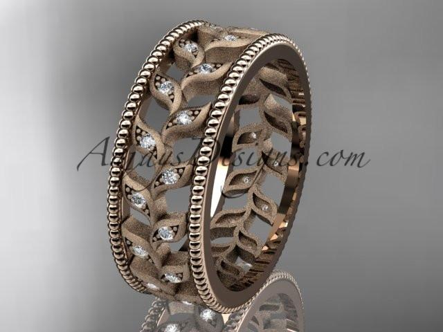 14kt rose gold diamond leaf and vine wedding ring, engagement ring, wedding band ADLR46 - AnjaysDesigns