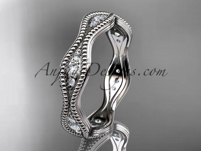 platinum diamond leaf and vine wedding ring, engagement ring, wedding band ADLR50 - AnjaysDesigns