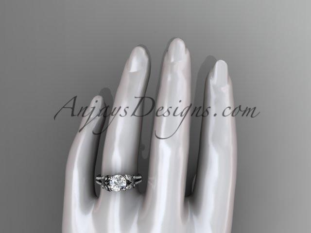 "14kt white gold diamond unique engagement ring, butterfly ring, wedding ring with a ""Forever One"" Moissanite center stone ADLR514 - AnjaysDesigns"