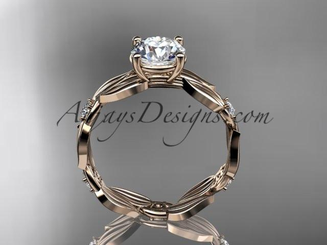 14k rose gold diamond leaf and vine wedding ring,engagement ring ADLR58 - AnjaysDesigns
