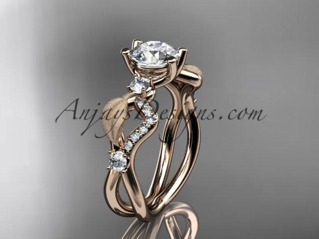 14k rose gold diamond leaf and vine wedding ring, engagement ring ADLR68 - AnjaysDesigns, Unique Engagement Rings - Jewelry, Anjays Designs - AnjaysDesigns, AnjaysDesigns - AnjaysDesigns.co,