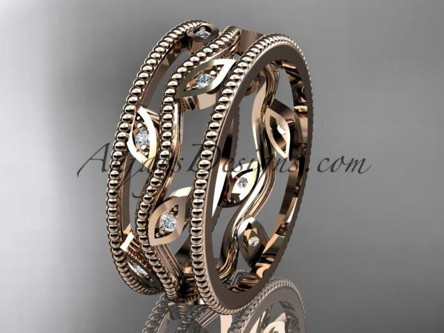 14k rose gold diamond leaf and vine wedding band,engagement ring ADLR7B - AnjaysDesigns, Diamond Wedding Bands - Jewelry, Anjays Designs - AnjaysDesigns, AnjaysDesigns - AnjaysDesigns.co,