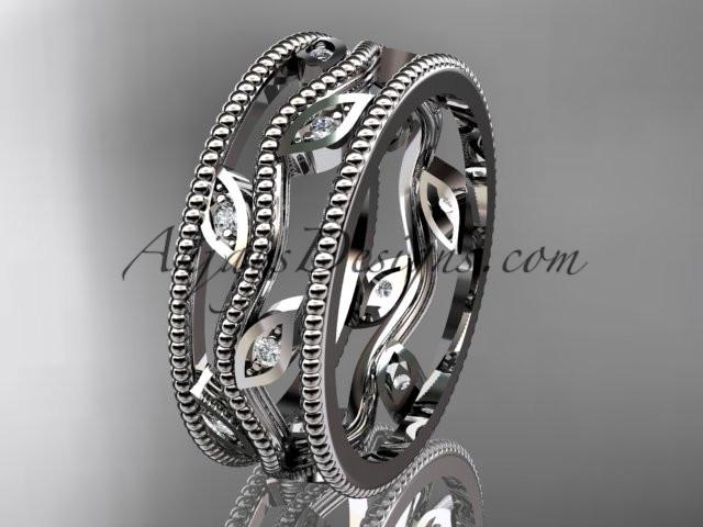 platinum  diamond leaf and vine wedding band,engagement ring ADLR7B - AnjaysDesigns