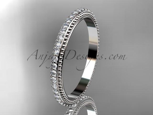 platinum diamond wedding ring, engagement ring, wedding band ADER86B - AnjaysDesigns