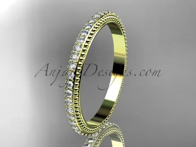 14kt yellow gold diamond wedding ring, engagement ring, wedding band ADER86B - AnjaysDesigns
