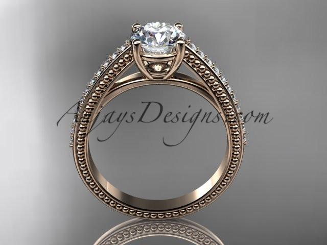 14kt rose gold diamond unique engagement ring, wedding ring ADER87 - AnjaysDesigns