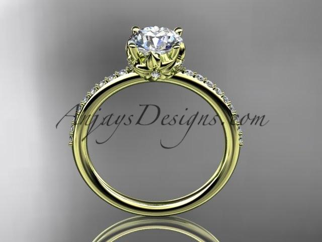 14kt yellow gold diamond floral wedding ring, engagement ring ADLR92 - AnjaysDesigns