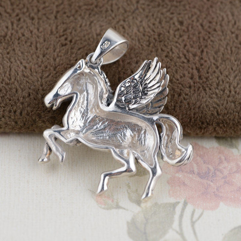 925 Sterling Silver Horse Pendant  lapis lazuli S925 Solid Thai Silver Pendants Pendant Women Jewelry