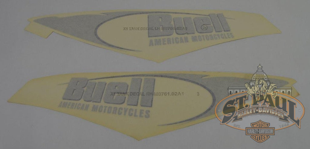 M0761 02A1 M0760 Genuine Buell X1 Fuel Tank Cover Decal Set U8C Emblem