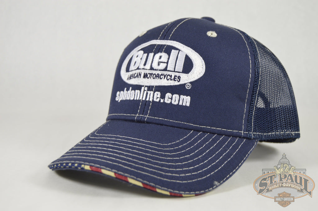 New!!! Sphd Buell - American Motorcycles Hat Blue Trucker Style Apparel