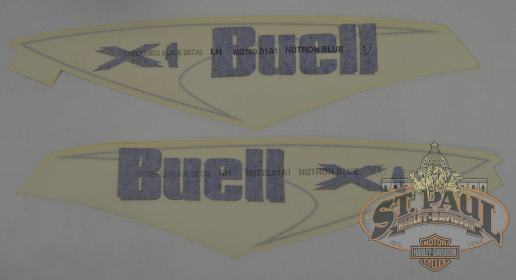 M0770 01A1 M0769 Genuine Buell X1 Fuel Tank Cover Decal Set U8C Emblem