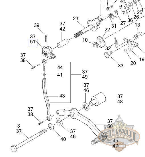 N0622.01A1 Genuine Buell Engine Shifter Lever, 2001-2002