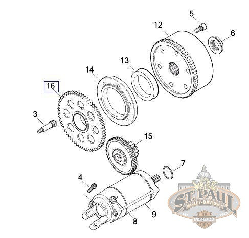 Y0539.1AMA Genuine Buell Sprag Clutch Starter Gear, 2008
