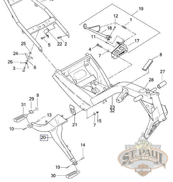 L2132.TA Genuine Buell Left Footrest Assembly, Blast / P3