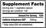 NutraBio CAFFEINE (200mg) 150 Vegetable Capsules