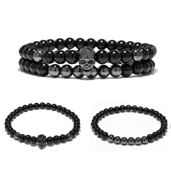 Steampunk Metal Skull Skeleton Stone Bracelets Set  (3 colours) - Be the Boss
