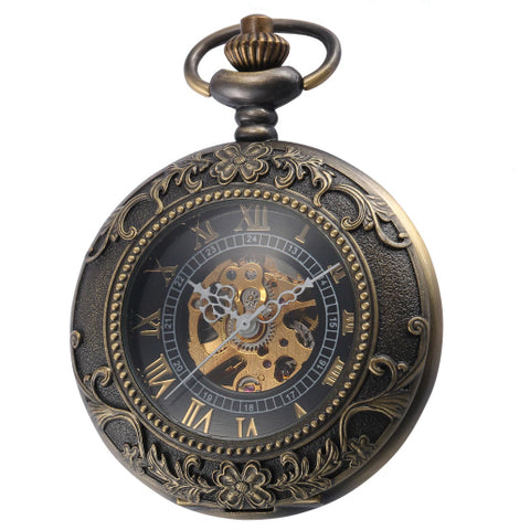 Pocket Watch Mechanical Bronze Steampunk with Gift Box - Be the Boss