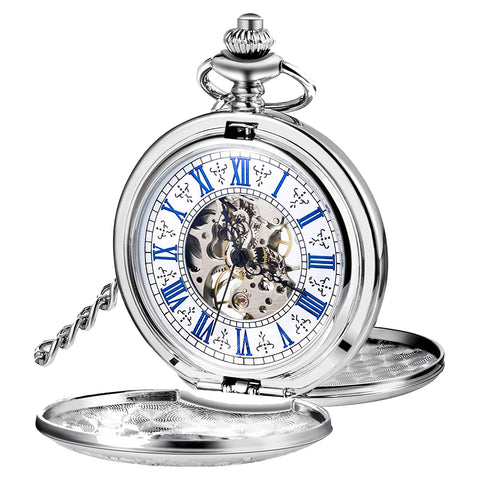Double Hunter Pocket Watch Steampunk Silver Mechanical + Luxury Gift Box - Be the Boss