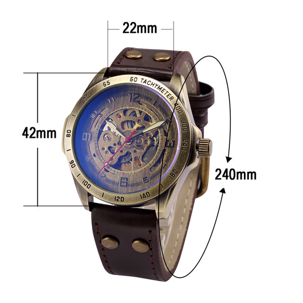 Automatic Steampunk Skeleton Mechanical Stainless Steel Bronze Wrist watch - Be the Boss