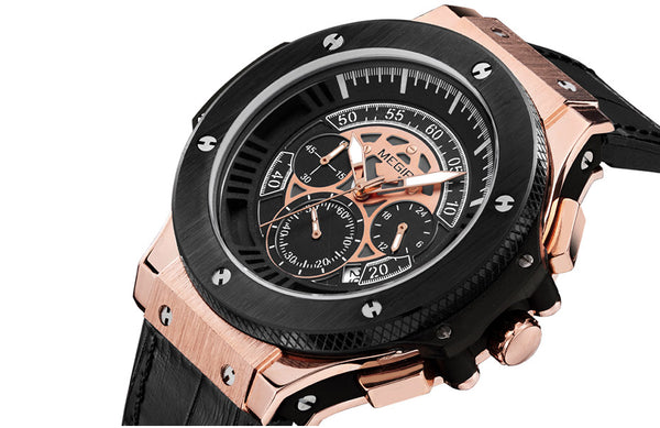 Bold Men's Stainless Steel Waterproof Chronograph with Leather Wristwatch - Be the Boss