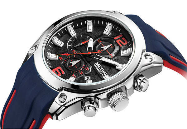 Red and Blue Sports Chronograph Wristwatch - Be the Boss