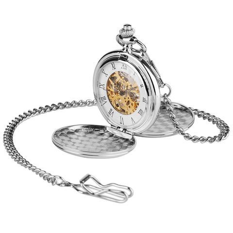 Double Hunter Pocket Watch Smooth Skeleton Mechanical + Luxury Gift Box - Be the Boss