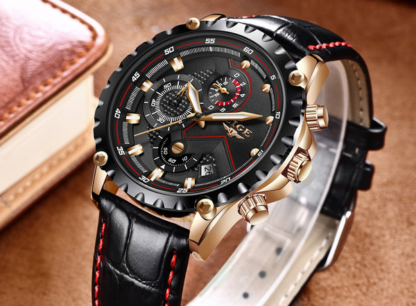 Black and Gold Luxury Stainless Steel Waterproof Wristwatch - Be the Boss