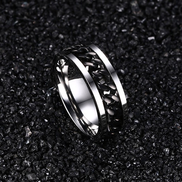 Punk Rock Stainless Steel Spinner Men's Ring - Be the Boss