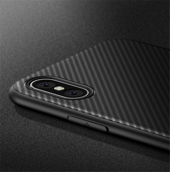 iPhone Carbon Fiber Silicone Case Ultra Thin Shockproof - Be the Boss