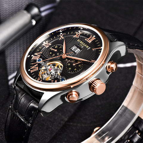 Black Luxury Automatic Mechanical Stainless Steel Waterproof Wristwatch - Be the Boss