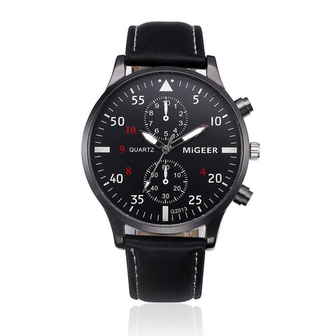 Casual Classic Business Wristwatch with black leather - Be the Boss
