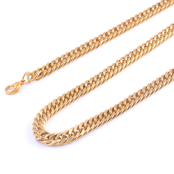 High Quality Gold Titanium Steel Chain Men's Necklace (4 sizes) - Be the Boss
