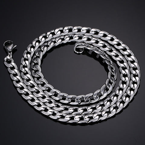 6mm Bold Stainless Steel Silver Chain Men's Necklace - Be the Boss