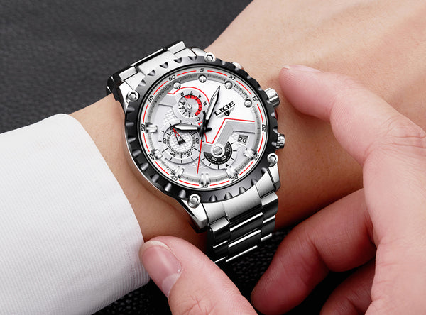 White Deluxe Stainless Steel Waterproof Wristwatch - Be the Boss