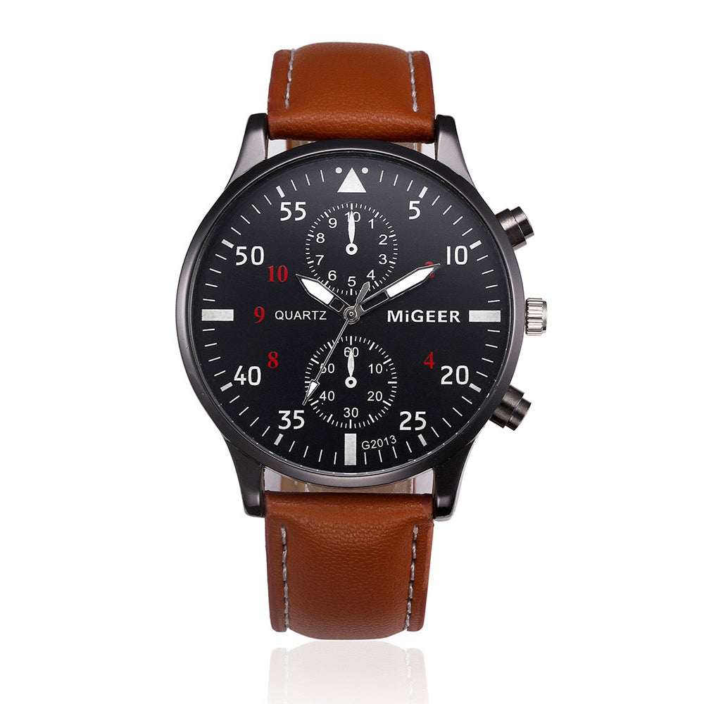 Casual Classic Business Wristwatch with brown leather - Be the Boss