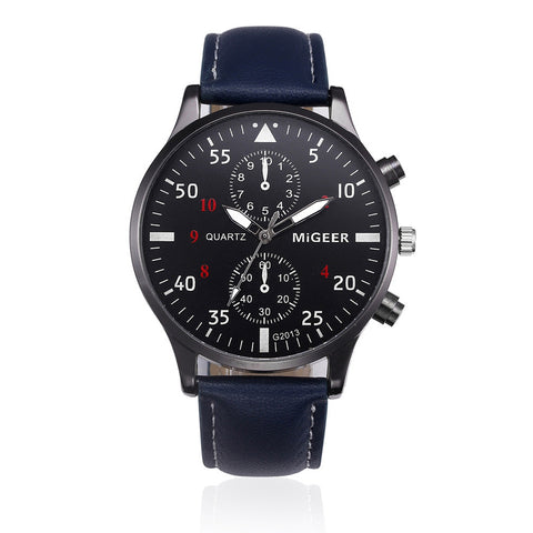 Casual Classic Business Wristwatch with blue leather - Be the Boss