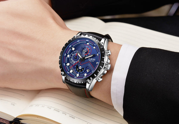 Blue Deluxe Stainless Steel Waterproof Wristwatch - Be the Boss