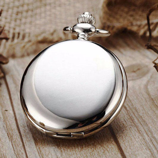Pocket Watch Silver Smooth Steampunk Stainless Steel with a gift box - Be the Boss